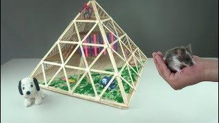 How to Make Popsicles Stick Pyramid House for Hamster Mouse