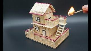 How to Make a Match Stick House - match Stick house fire at home