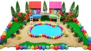 DIY How To Make Rainbow Double House On Stilts and Pool with Kinetic Sand, Mad Mattr, Slime