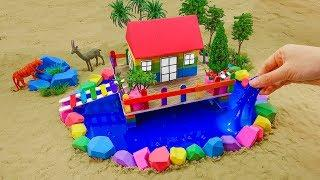 How To Make Wooden House w Surrounded River With Kinetic Sand w Nursery Rhymes For Kids