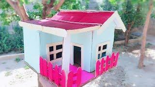 How To Make a Small Cardboard House - DIY Art And Craft Ideas