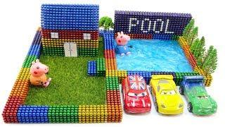 DIY How To Make Beautiful Swimming Pool And House With Magnetic Ball & Slime (ASMR)   Surprise Balls
