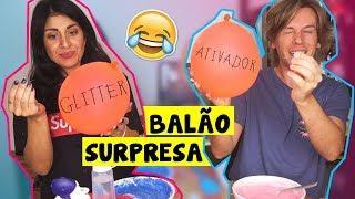 Fazendo SLIME no Desafio do BALÃO SURPRESA ft. NOVO ROSA