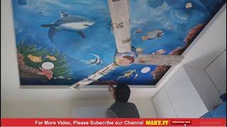 How to Paint sea texture in ceiling painting