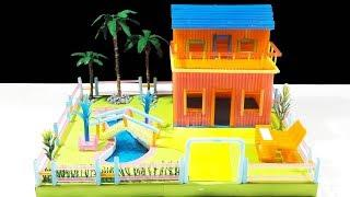 How To Make A Straw House With Swimming Pool DIY Straw House Mansion