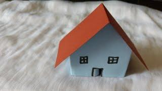 House making using paper very easy way best for school project work/Origami house/Kids paper art and