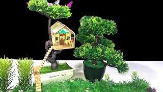 How to Make Amazing Match Stick Tree House   DIY Match Tree House