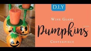 How To Make a Halloween DIY Wine Glass Pumpkin Centerpiece at Goodwill