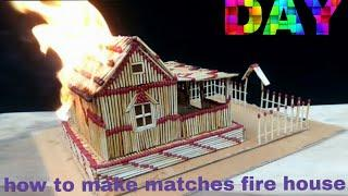 how to make a match fire house at home-match sticks fire
