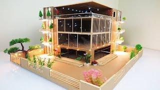 Making A Mansion House From Bamboo Stick With LEDs Light ( Dream House ) - Project for School