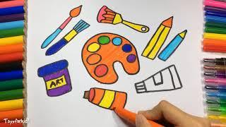 How to Draw Set Tools for Painter, Coloring Pages, Kit for Creativity Paints, Brushes and Pencil
