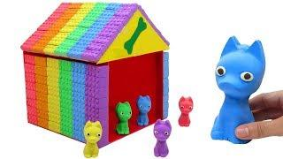 Learn Colors Kinetic Sand Family Dog House and DIY How To Make Videos For Kids