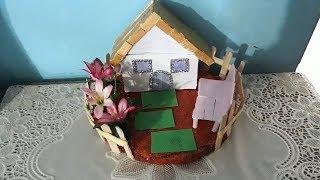 Ice cream stick crafts.How to make popsicle stick  house and garden.Fairy house  making.