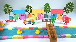 How to Create River in the City with Kinetic Sand, Slime & Peppa pig, Pj Mask Toys