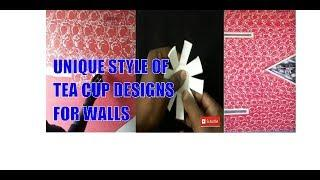 Using Tea Cups  with Asian paints Royal Play Designs Wall Painting Interior