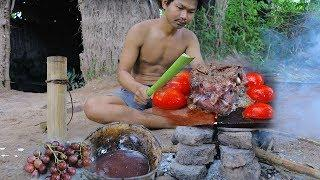 Primitive Technology:  Making BBQ (Grill Beef) With Grape Wine On Rock Get Drunk , Factory Food.