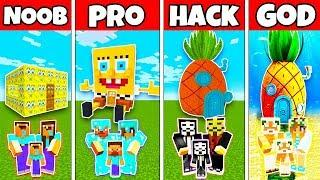 Minecraft: FAMILY SPONGEBOB HOUSE BUILD CHALLENGE - NOOB vs PRO vs HACKER vs GOD in Minecraft