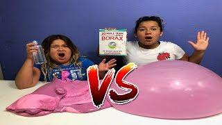 1 GALLON OF BORAX SLIME VS 1 GALLON OF CONTACT LENS SOLUTION SLIME - MAKING GIANT FLUFFY SLIMES