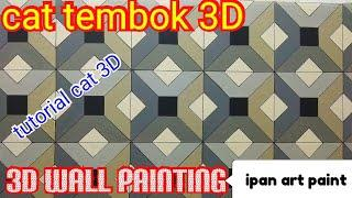 Cat tembok 3D- tutorial cat tembok 3D- wall art painting- 3D wall painting design ideas.