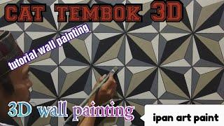 Cat tembok 3D- 3D wall painting- tutorial cat tembok 3D- wall art painting