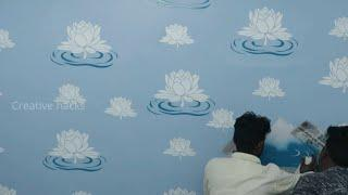 Lotus Flower stencil design for wall painting