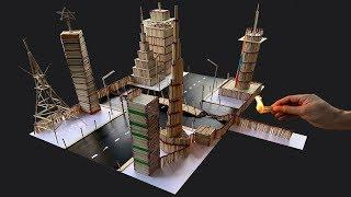 How to Make a Match Stick City - match Stick house fire at home