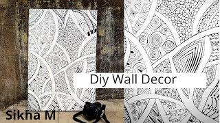 Wall Decoration Idea | Abstract Line Painting | Diy Wall Decor | Home Decor | Sikha M