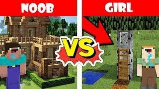 Minecraft NOOB vs GIRL : BUILDING A HOUSE ( Animation )