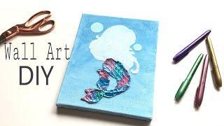 Wall Art DIY| DIY Mermaid decor |How to create a metal effect on wall art