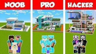Minecraft NOOB vs PRO vs HACKER: SAFEST FAMILY HOUSE BUILD CHALLENGE in Minecraft/ Animation