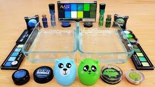 Blue vs Green Mixing Makeup Eyeshadow Into Slime! Special Series 72 Satisfying Slime Video