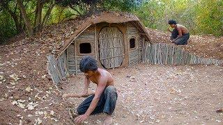Build House underground Using wood | Primitive technology , Building Skill