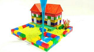 DIY Make a Colour House for Kids with Popsicle stick, kinetic sand, slime and toys