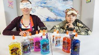 SARAH CHEATED! Blindfolded Slime Challenge