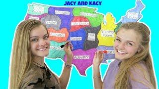 Throwing A Dart At A Map & Making Slime ~ Jacy and Kacy