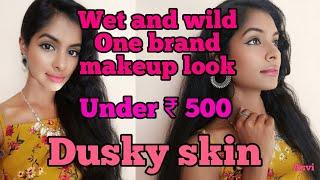 Wet and wild one brand makeup look|Dusky skin|Under rs 500 simple, easy makeup look|Asvi be creative