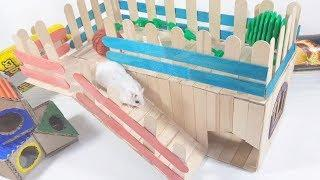 How to Make Popsicle Stick House for Cute Hamster - DIY Smart Hamster