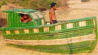 How To Build Boat House Using Bamboo #Primitive_Copy / Primitive building
