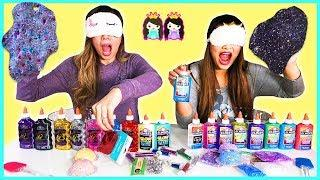 Blindfolded Slime Challenge!!! Making Slime Blindfolded with Princess ToysReview