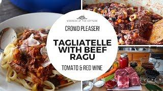 TAGLIATELLE WITH BEEF RAGU | Tender beef in a rich tomato red wine sauce!