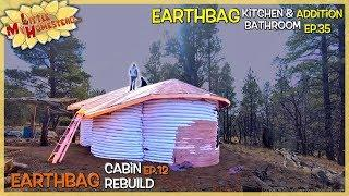 Finish Roofing, Burlap Ceiling & Building Cabinets Cont.  | Earthbag Kitchen & Bath Ep35| Cabin Ep12