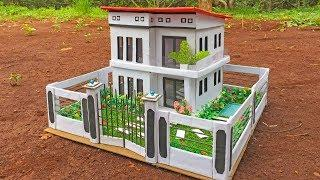 How to Make Cardboard House Building with Lovely Garden