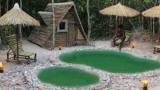 Dig natural forest land to build swimming pool & wooden house by ancient skill
