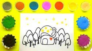 Mushroom House Sand Painting    How to Make Sand Painting   Sand Painting art for Kids