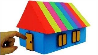 How To Make Easy Kinetic Sand Rainbow House Toys #w | Learn Colors with Mad Mattr Fun for Kids