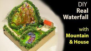 How to make Real waterfall from mountain and house - cardboard project