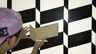 3D WALL TEXTURE DESIGN | OPTICAL ILLUSION 3D WALL EFFECT | CAT TEMBOK 3D | INTERIOR DESIGN