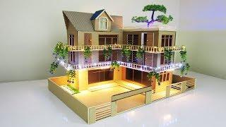 Making A Beautiful Mansion House From Cardboard With LED Lights - ( Dream house Project ) Model 09