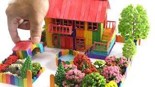DIY miniature Rainbow House Villa with Dog house and Color Garden