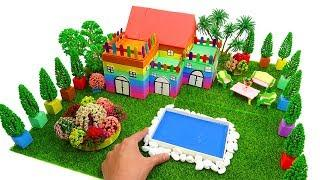 How To Make Rainbow Garden House Villa with Kinetic Sand, Mad Mattr, Slime, Model Tree